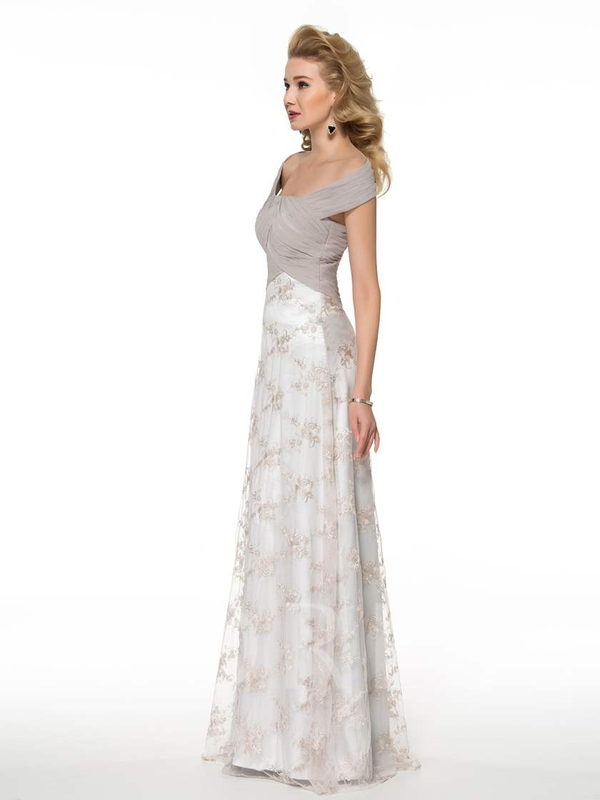 Floor-Length Embroidery Lace Sheath Mother of the Bride Dress