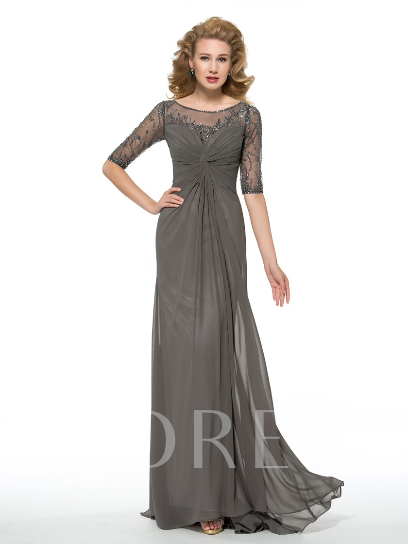 Beading Half Sleeves Bateau Floor-Length Mother of the Bride Dress