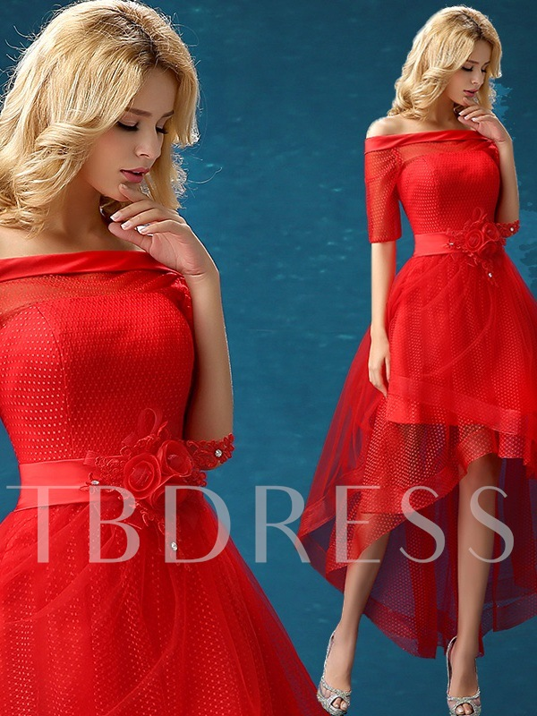 Off-The-Shoulder Half Sleeve Asymmetrical Length Cocktail Dress