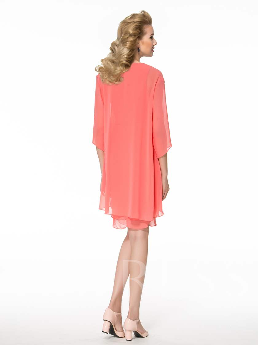 Tiered Column Knee-Length Mother of the Bride Dress with Jacket