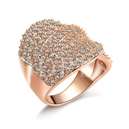 Rose Gold Shining Full Drill Wide Ring