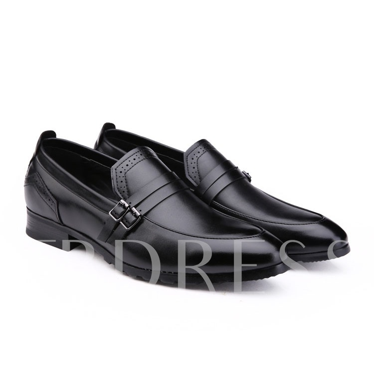 Buckle Slip-On Pointed Toe Square Heel Men's Oxfords