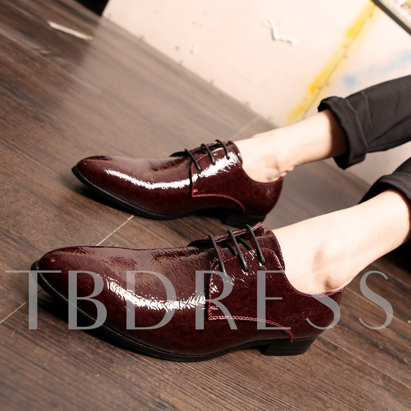 Pointed Toe Lace-Up Front Square Heel Men's Oxfords