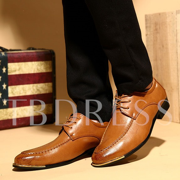 Pointed Toe Lace-Up Front Sequins Square Heel Men's Oxfords
