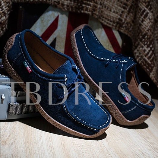 Flat Heel Lace-Up Front Round Toe Plain Men's Loafers