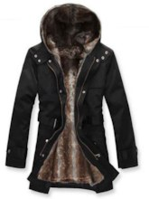 Faux Fur Midi-Length Solid Color Slim Men's Winter Coat