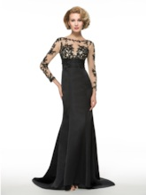 Appliques Long Sleeve Trumpet Mother of the Bride Dress