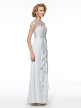 Appliques Column Cap Sleeves Mother of the Bride Dress