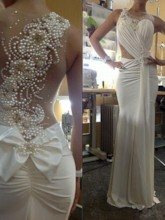 Pearls See-Through Back Sheath Beach Wedding Dress