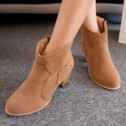 Chunky Heel Round Toe Side Zipper Women's Ankle Boots
