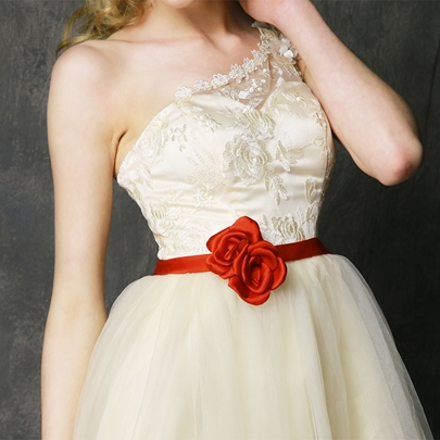 One-Shoulder Tulle Asymmetry High-Low Bridesmaid Dress