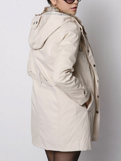 Long Sleeve Hooded Thicken Women's Trench Coat