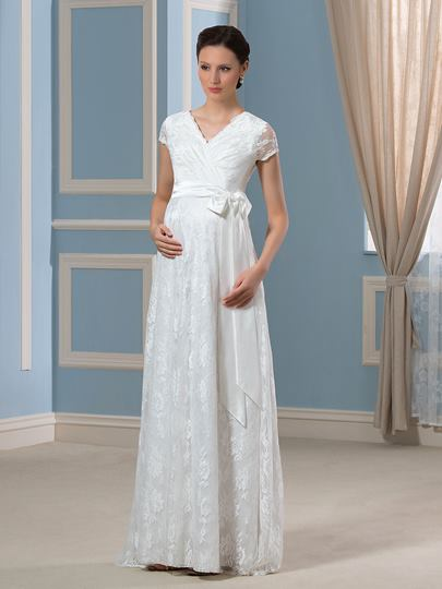 V-Neck Short Sleeves Lace Floor-Length Maternity Wedding Dress