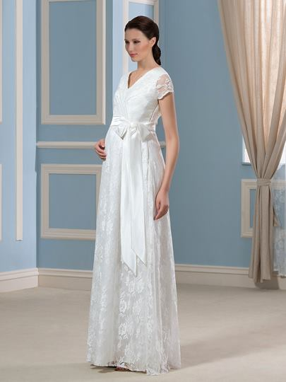 V-Neck Short Sleeves Lace Floor-Length Maternity Wedding Dress ...