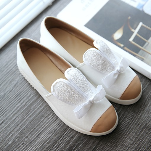 Round Toe Lolita Slip-On Low-Cut Front Women's Flats