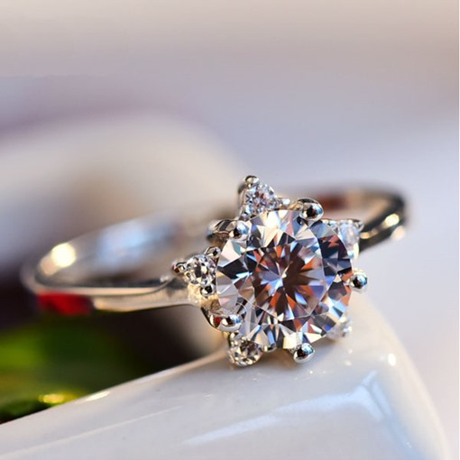 925 Silver Romantic Imitation Crystal Ring