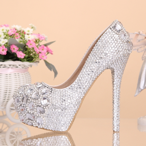 Platform Rhinestone Slip-On Round Toe Women's Wedding Pumps