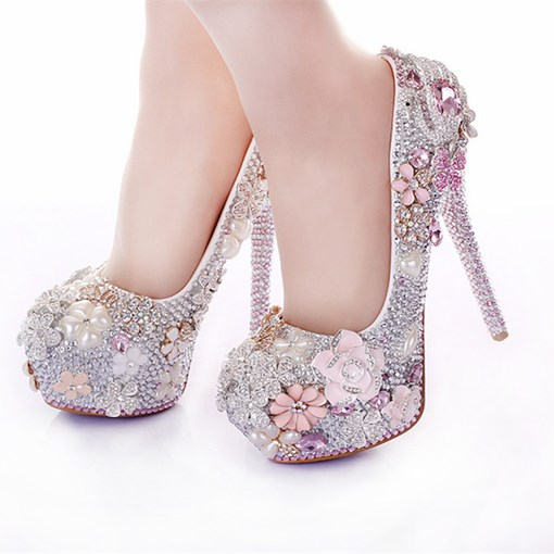 Appliques Platform Stiletto Heel Slip-On Women's Wedding Pumps