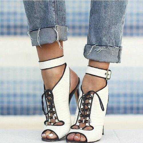 Peep Toe Lace-Up Plain Stiletto Heel Color Block Women's Sandals