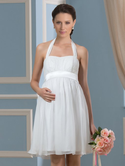 Knee-Length Halter Neck Short 30D Chiffon Pregnant Wedding Dress