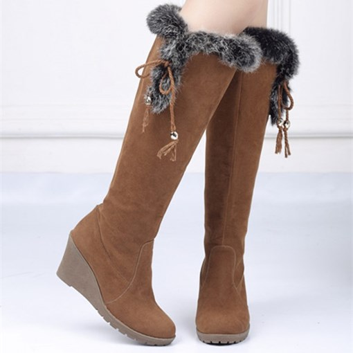 Round Toe Slip-On Wedge Heel Knee-High Women's Boots