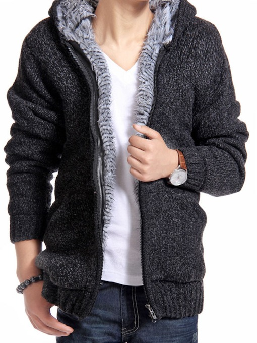 Acrylic Lined Men's Zip Knit-wear