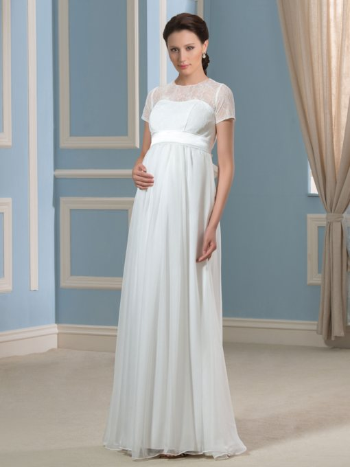 Short Sleeves Lace A-Line Floor-Length Maternity Wedding Dress
