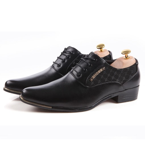 Pointed Toe Square Heel Color Block Men's Oxfords