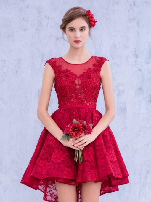 Keyhole Back Red Lace Short Bridesmaid Dress