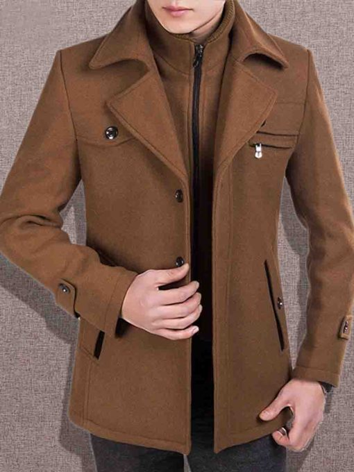 Faux Wool Blends Hidden Zipper Slim Men's Coat
