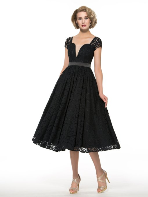 Cap Sleeve Lace Tea-Length Mother of the Bride Dress
