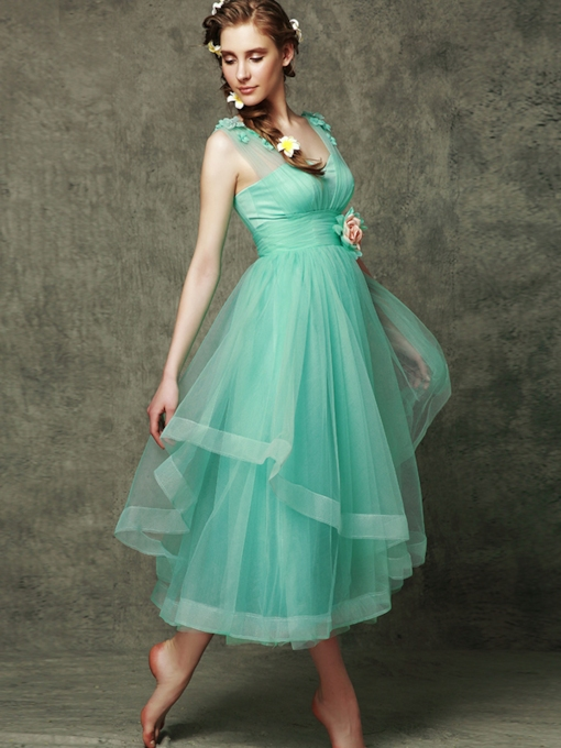 Straps Flowers Tea-Length Bridesmaid Dress