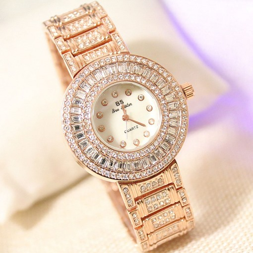 Shiny Rhinestone Golden Watch