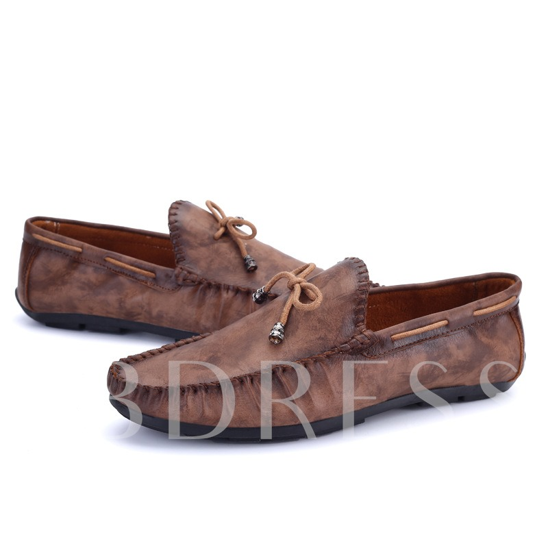 Slip-On Lace-Up Front Low-Cut Upper Round Toe Men's Loafers