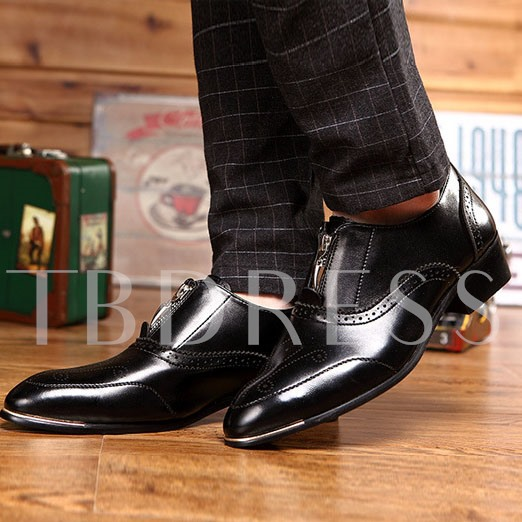 Pointed Toe Square Heel Front Zipper Men's Oxfords