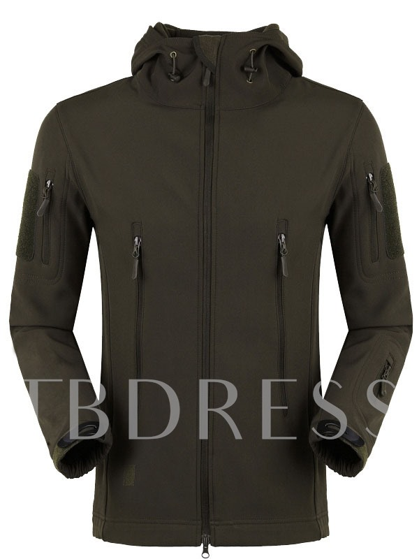 Men's Solid Color Breathable Fleece Lining Outdoor Soft Shell Jacket