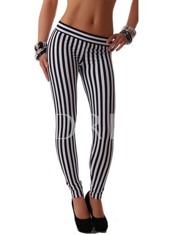 Black and White Striped Patchwork Skinny Women's Leggings