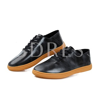 Flat Heel Low-Cut Upper Lace-Up Front Round Toe Men's Loafers