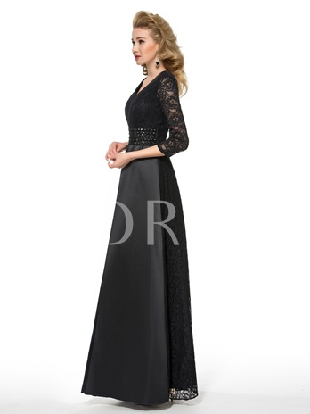 Lace 3/4 Length Sleeve Mother of the Bride Dress