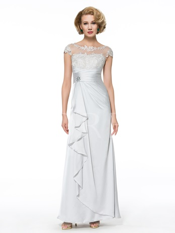 Casual Beading Lace Cap Sleeves Column Mother of the Bride Dress