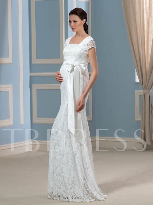 Cap Sleeves Lace Ribbon Trumpet/Mermaid Pregnant Wedding Dress