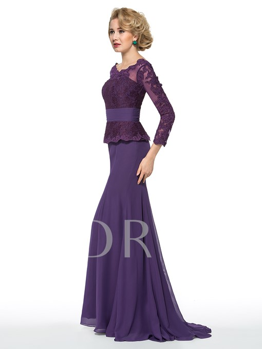 Scoop Appliques Long Sleeve Mother of the Bride Dress