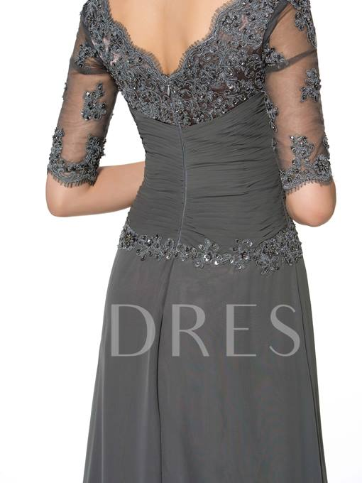Appliques Half Sleeve A-Line Chiffon Mother of the Bride Dress