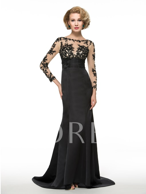 See-Through Appliques Long Sleeve Trumpet Mother of the Bride Dress