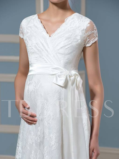 Short Sleeves Lace Bowknot Maternity Wedding Dress