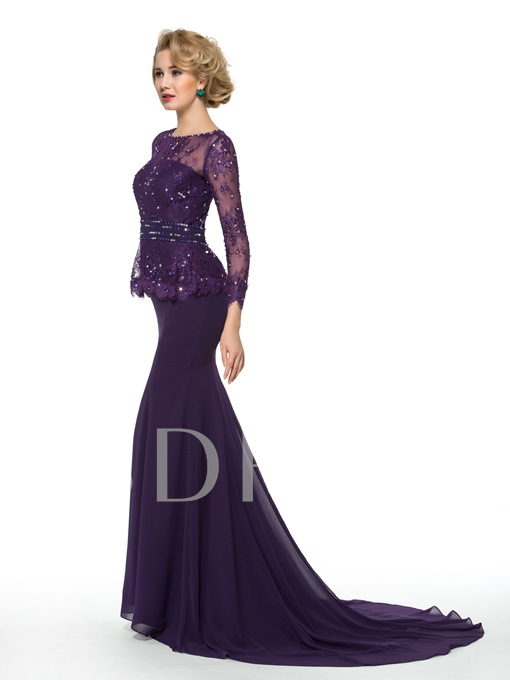 Sequins Lace Long Sleeve Trumpet/Mermaid Mother of the Bride Dress