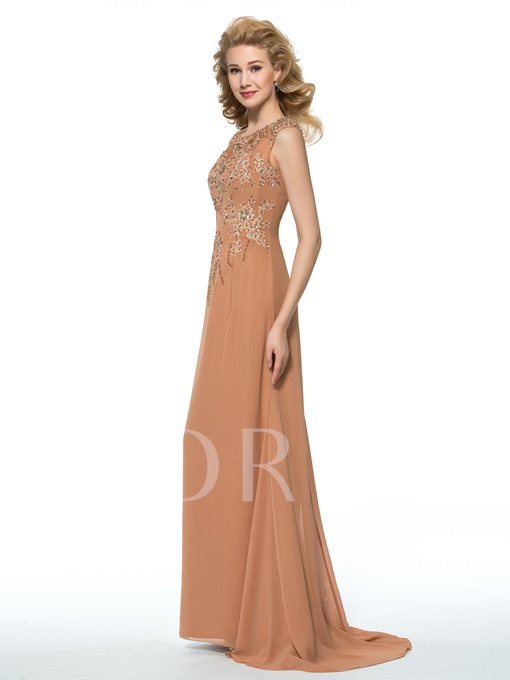 Beading Appliques Column Floor-Length Mother of the Bride Dress