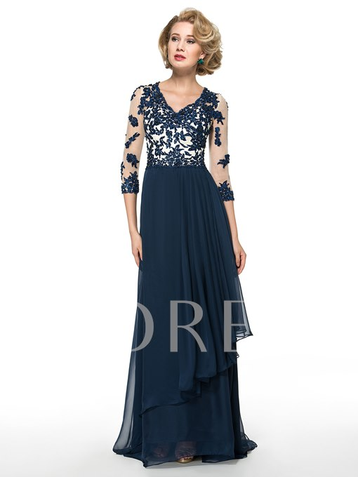 Beading Lace V-Neck Chiffon Floor-Length Mother of the Bride Dress