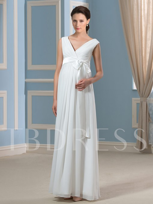 Simple V-Neck Empire Waist Chiffon Pregnancy Maternity Wedding Dress