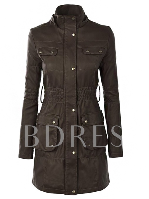 Button Long Sleeve Slim Women's Trench Coat